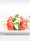 Finger Food Recipe of Bocconcini Tomatoes Skewers on a white plate