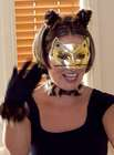 Halloween Costume of a woman dressed up as a cat in a black top black gloves golden cat mask and cat fur earband
