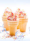 Dessert Recipe, Marshmallow and Chocolate Ice Cream with sprinkles in a cone